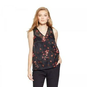 A New Day Black Floral Sheer V-neck Tank Top